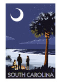 South Carolina Palmetto Moon Art by  Lantern Press