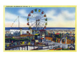 Wildwood-by-the-Sea, New Jersey - View of Playland, Ferris Wheel Prints