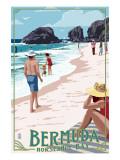 Horseshoe Bay Beach Scene - Bermuda Poster