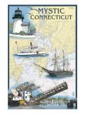 Mystic, Connecticut - Nautical Chart Affiche par  Lantern Press