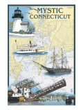 Mystic, Connecticut - Nautical Chart Affiche