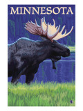 Moose at Night - Minnesota Posters by  Lantern Press