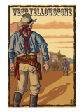Cowboy Standoff - West Yellowstone, MT Prints by  Lantern Press