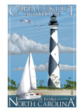 Cape Lookout Lighthouse - Outer Banks, North Carolina Posters par  Lantern Press