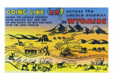 Wyoming - Cartoon Map of Lincoln Highway; Scenic Sites Posters by  Lantern Press