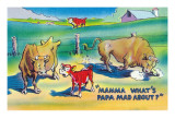 Comic Cartoon - Red Calf Asking Mamma Cow Why Papa Bull is Mad Prints