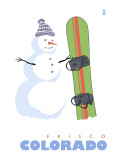 Frisco, Colorado - Snowman with Snowboard Posters