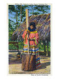 Everglades Nat'l Park, Florida - Soffkee Mill; Seminole Woman Grinding Corn Prints by  Lantern Press