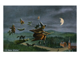 Salem, Massachusetts - Ye Salem Witches in Flight Prints
