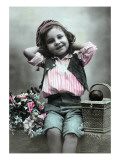 Paris, France - Little Girl with Flowers and Lunch Basket Posters
