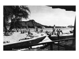 Hawaii - O'ahu Island; Diamond Head from Outrigger Canoe Club Premium Giclee Print by  Lantern Press