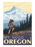 Mt. Hood Hiker Scene Poster Poster by  Lantern Press