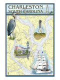 Charleston, South Carolina - Nautical Chart Poster