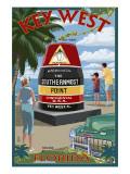 Key West, Florida - Southernmost Point Kunstdrucke von  Lantern Press