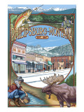 Philipsburg, Montana Montage Prints by  Lantern Press