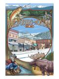 Philipsburg, Montana Montage Prints