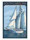 South Carolina Sailboat Art by  Lantern Press