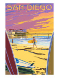 San Diego, California - Beach and Pier Poster von  Lantern Press