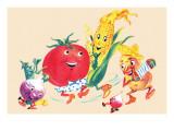 Dancing Happy Vegetables Art