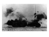 North Moser, New York - View of British Battleship Collingwood Shooting Prints