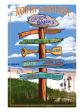 Outer Banks, North Carolina - Sign Destinations Print by  Lantern Press