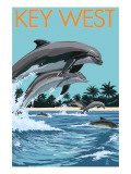 Key West, Florida - Dolphins Swimming Prints by  Lantern Press