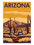 Arizona Desert Scene with Cactus Posters av  Lantern Press