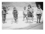 Children With Tricycles Playing In Manhattan Street Print