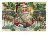 Christmas Greetings from Oregon - Santa & Reindeer Prints