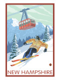 New Hampshire - Skier and Tram Prints by  Lantern Press
