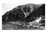 Juneau, Alaska - Aerial View of Town and Coast Posters by  Lantern Press