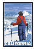 California - Skier Admiring Prints by  Lantern Press