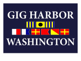 Gig Harbor, Washington - Nautical Flags Print by  Lantern Press