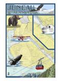 Juneau, Alaska - Nautical Chart Prints by  Lantern Press