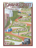 San Francisco, California - Lombard Street Prints by  Lantern Press