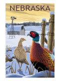 Pheasants - Nebraska Affiches par  Lantern Press