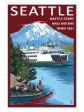 Ferry & Mount Rainier Scene - Seattle, Washington Prints