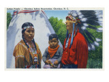 North Carolina - A Typical Indian Family on Qualla Reservation Prints by  Lantern Press