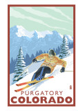 Purgatory, Colorado - Downhill Skier Affischer av  Lantern Press