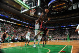 Miami Heat v Boston Celtics - Game Four, Boston, MA - MAY 9: LeBron James and Jermaine O'Neal Photographic Print by Brian Babineau