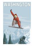 Snowboarder Jumping - Washington Posters by  Lantern Press