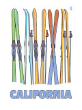 California - Skis in Snow Poster by  Lantern Press