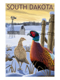 Pheasants - South Dakota Affiche par  Lantern Press