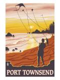 Port Townsend, WA - Kite Flyers Art by  Lantern Press
