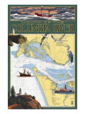 Columbia River Chart & Views Prints