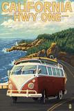 Lantern Press - California Highway One Coast VW Van Plakát