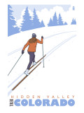Hidden Valley, Colorado - Cross Country Skier Print by  Lantern Press