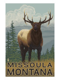 Missoula, Montana - Elk Scene Prints by  Lantern Press