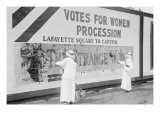 "Suffragettes Uses Long Brushes To Post a Billboard Announcing a ""Votes"" For Women"" Parade Prints"