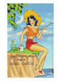 Pin-Up Girls - Girl Fishin for a Good Catch Art by  Lantern Press